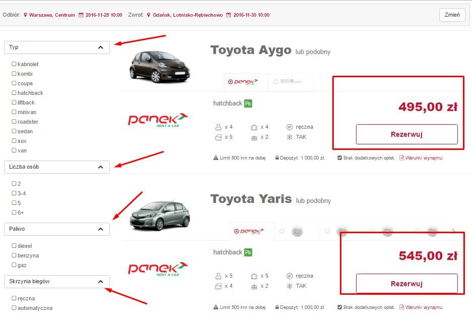 wynajem aut online